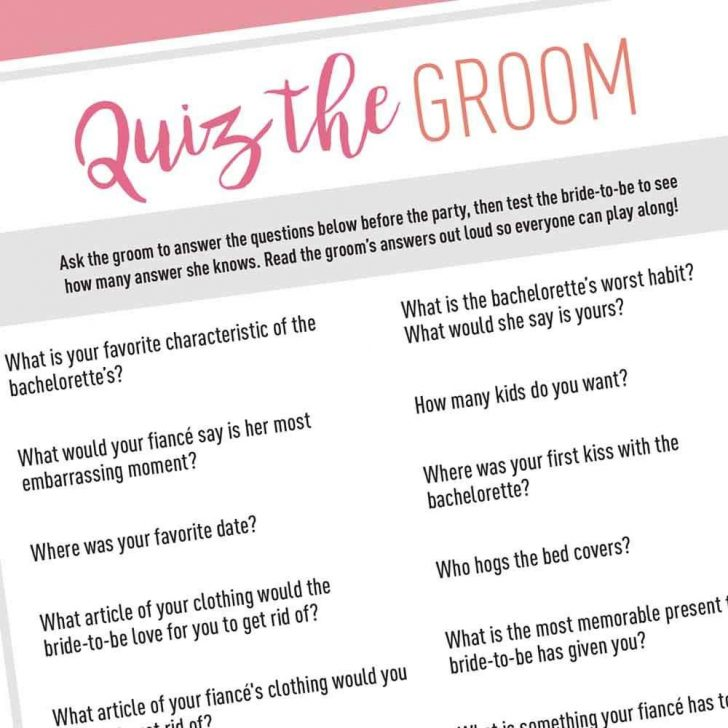 How Well Does The Bride Know The Groom Free Printable