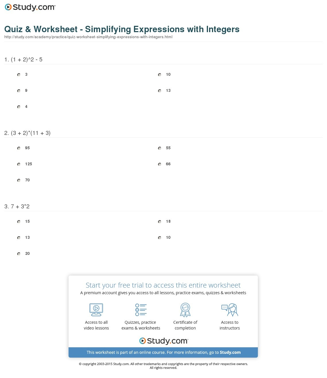 Quiz & Worksheet - Simplifying Expressions With Integers   Study - Free Printable Integer Worksheets Grade 7