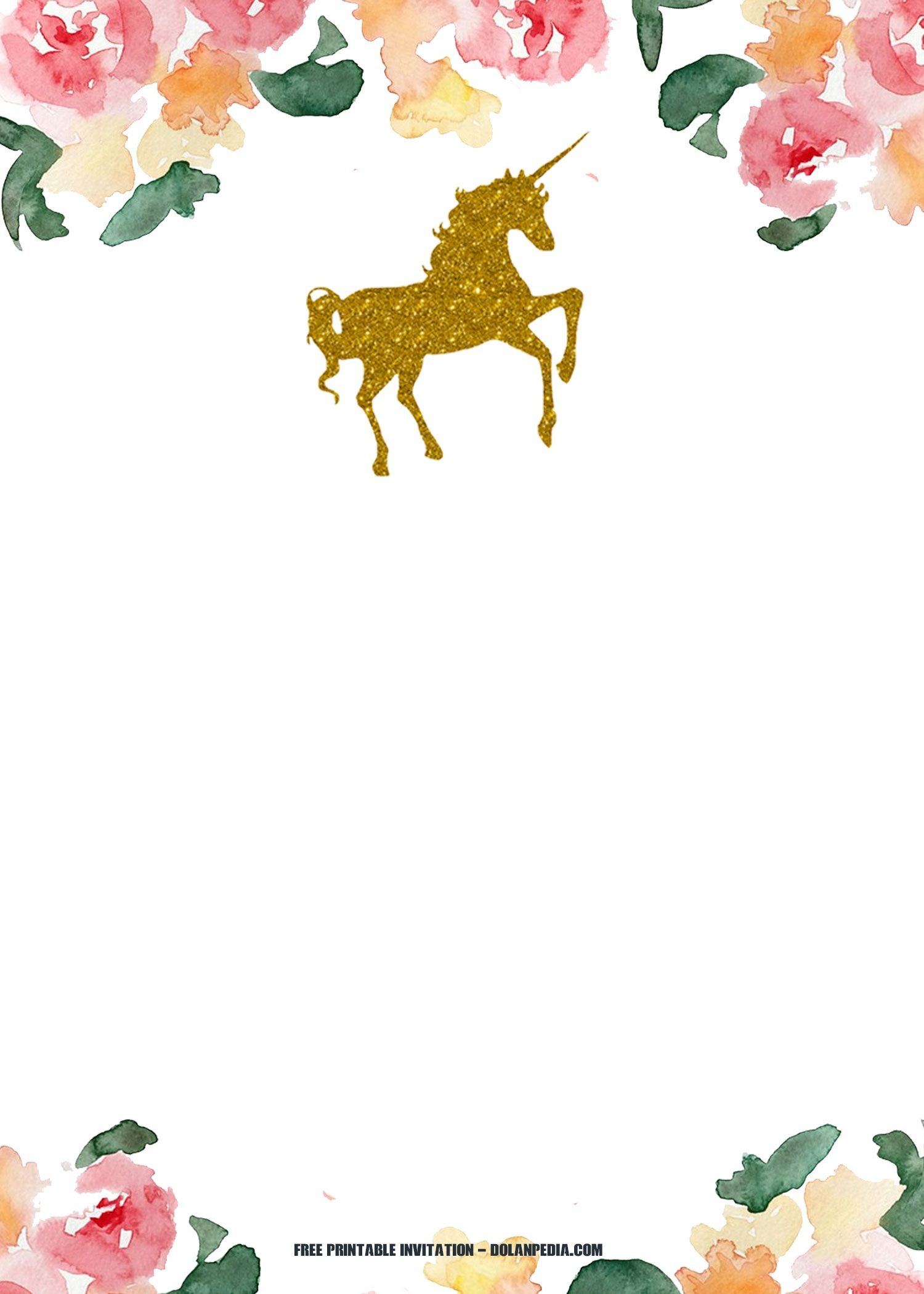 Rainbow Birthday Invitations Beautiful Free Printable Golden Unicorn - Free Printable Unicorn Invitations