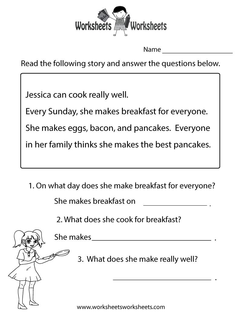 Reading Comprehension Test Worksheet Printable | Reading | Free - Free Printable Reading Worksheets