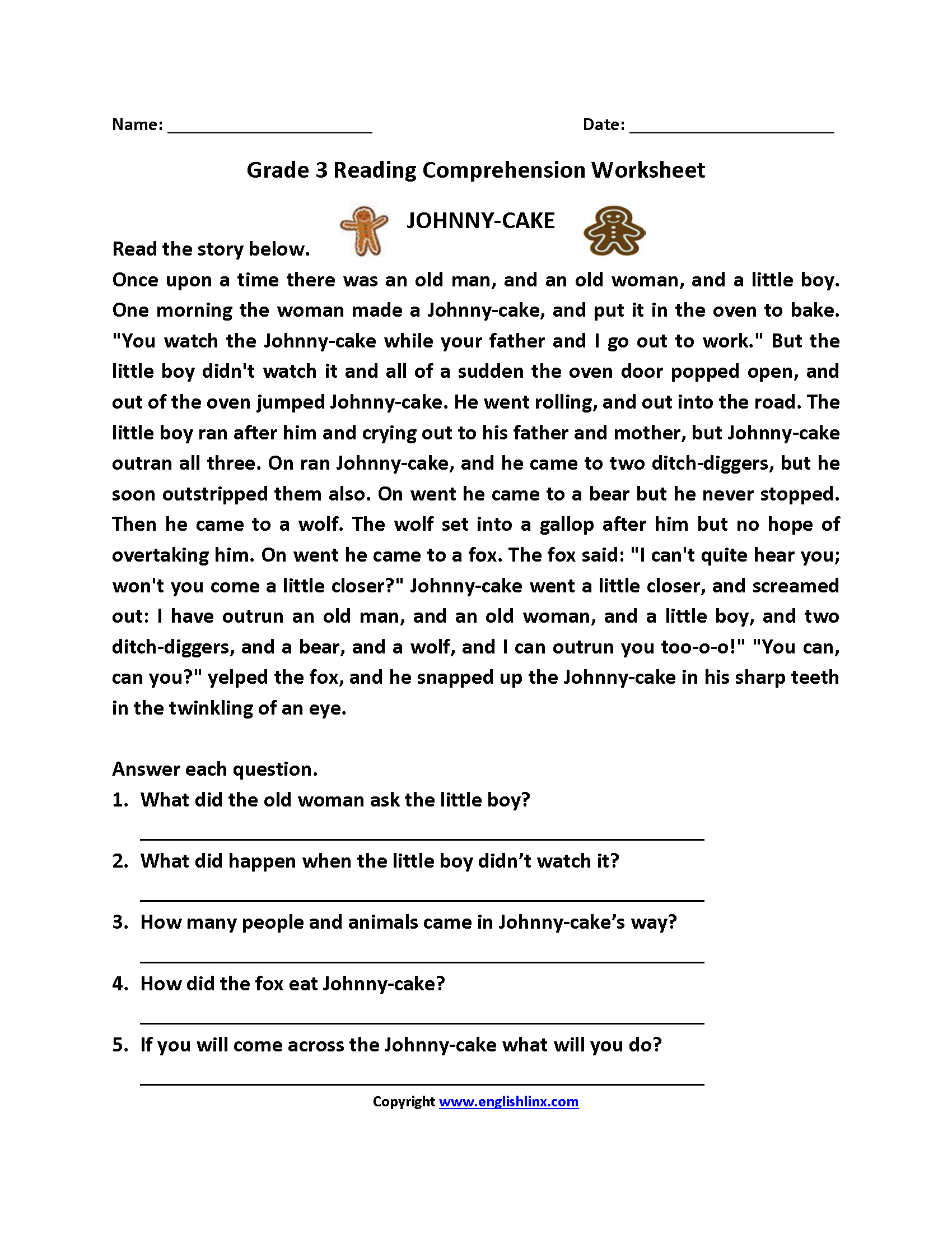 Reading Worksheets   Third Grade Reading Worksheets - Free Printable Reading Comprehension Worksheets For 3Rd Grade
