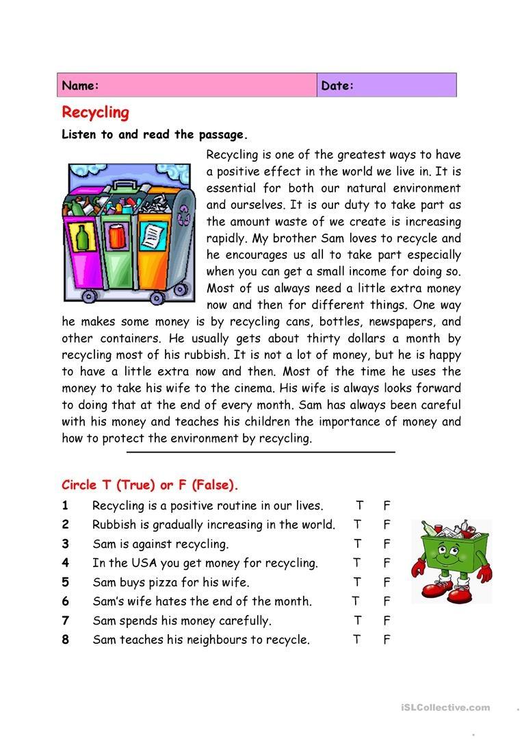 Recycling Worksheet - Free Esl Printable Worksheets Madeteachers - Free Printable Recycling Worksheets