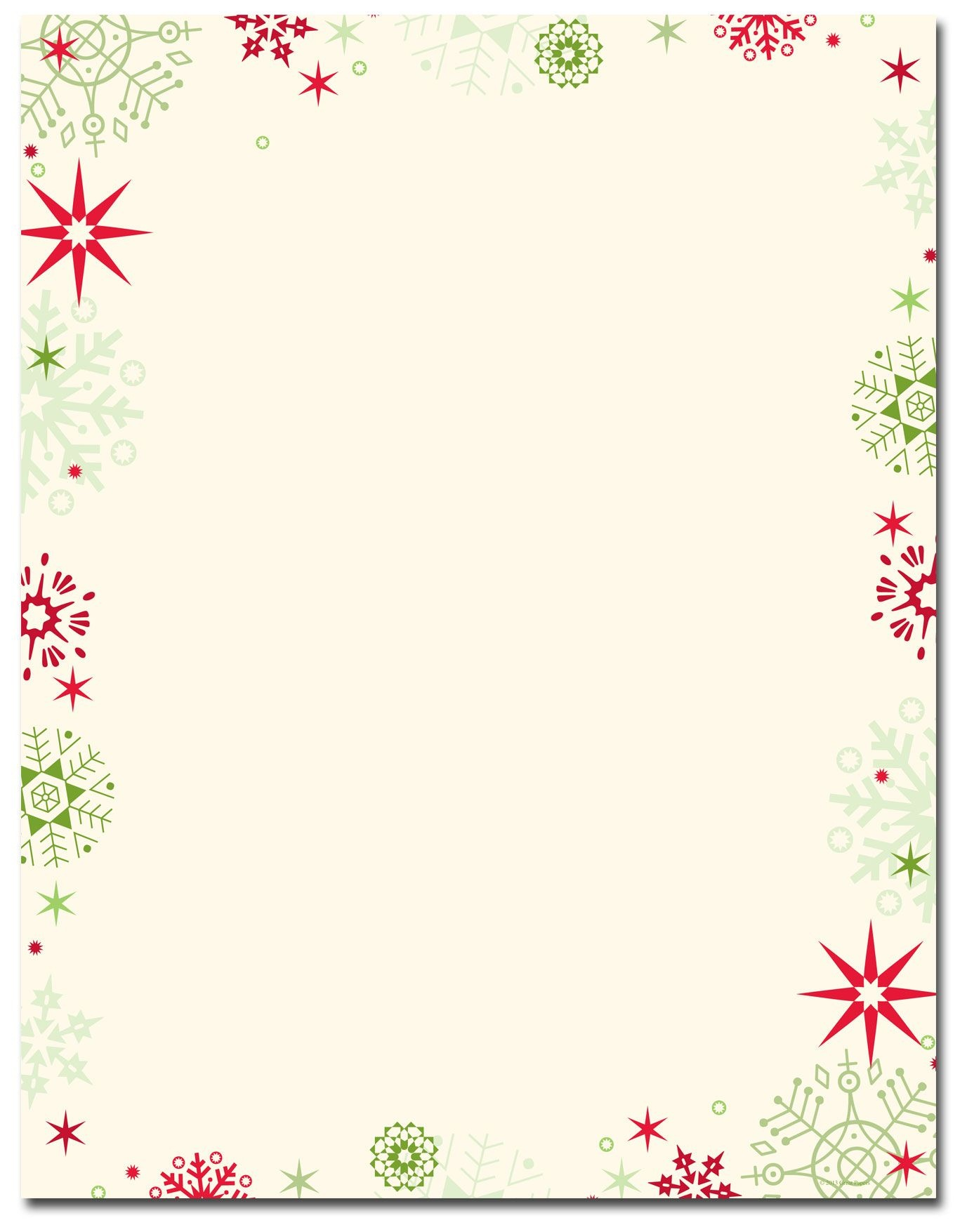 Red & Green Flakes Letterhead   Holiday Papers   Christmas - Free Printable Christmas Stationery Paper