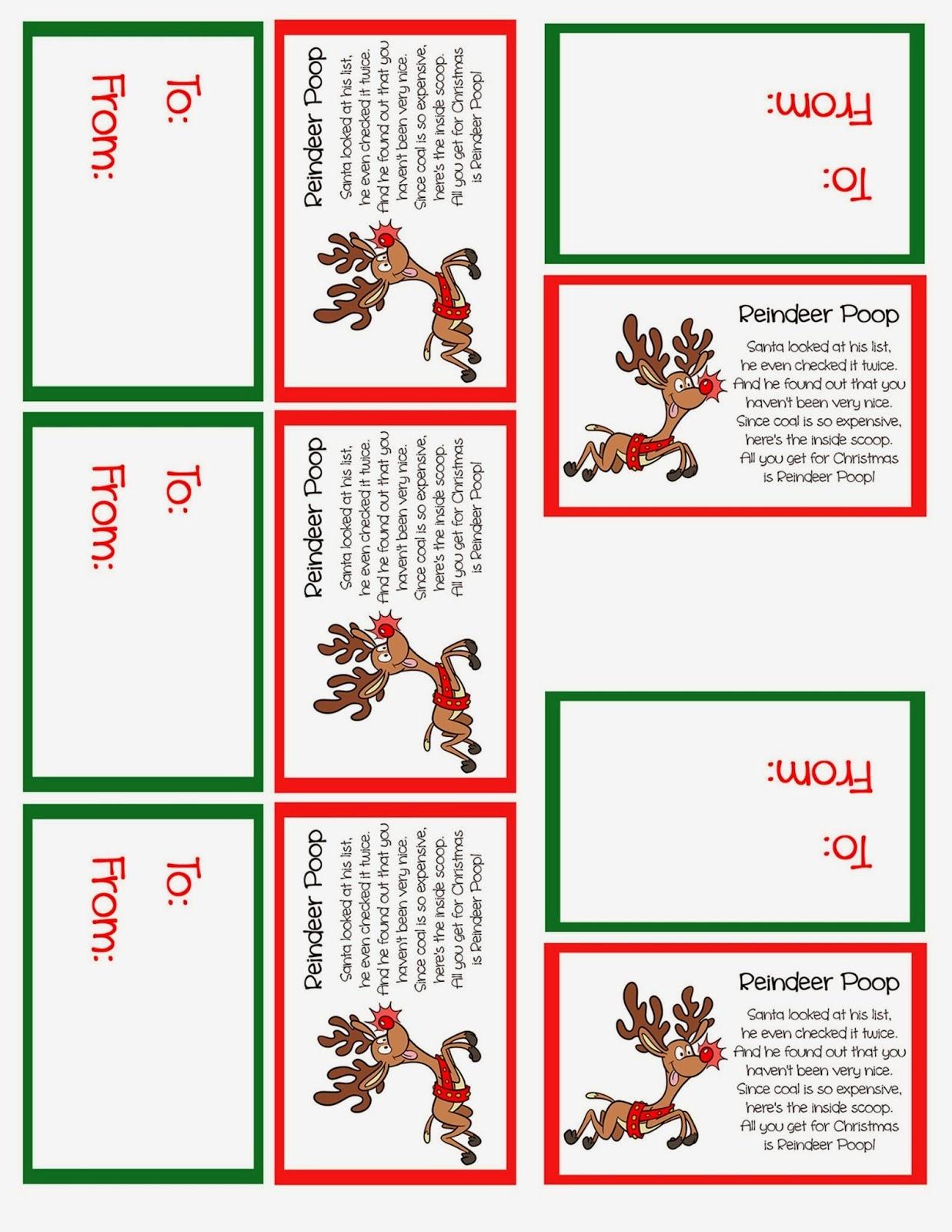 Reindeer Poop Stocking Stuffer Or Party Favor – Free Printable - Grinch Pills Free Printable
