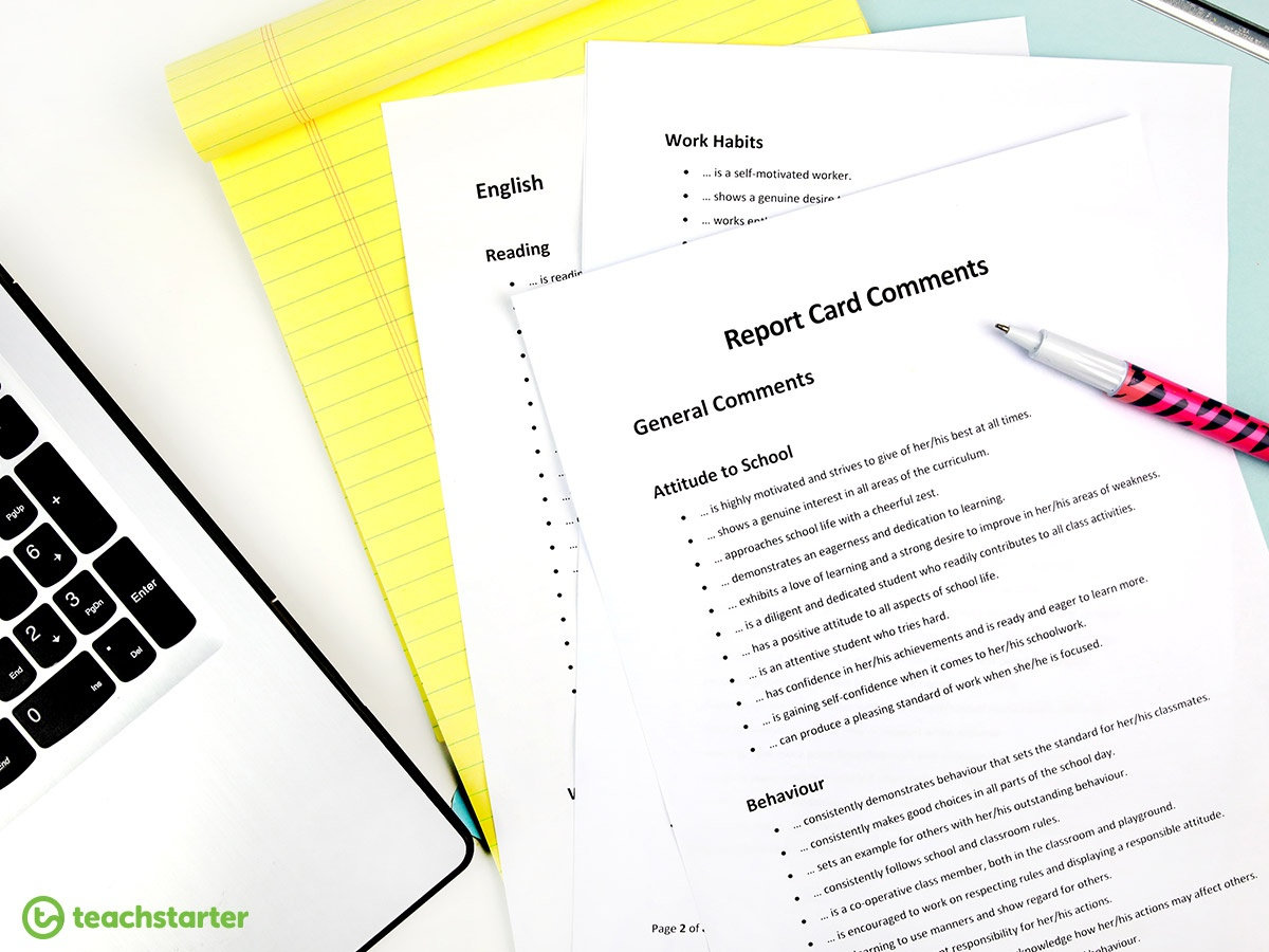 Report Card Comments Teaching Resource   Teach Starter - Free Printable Report Card Comments
