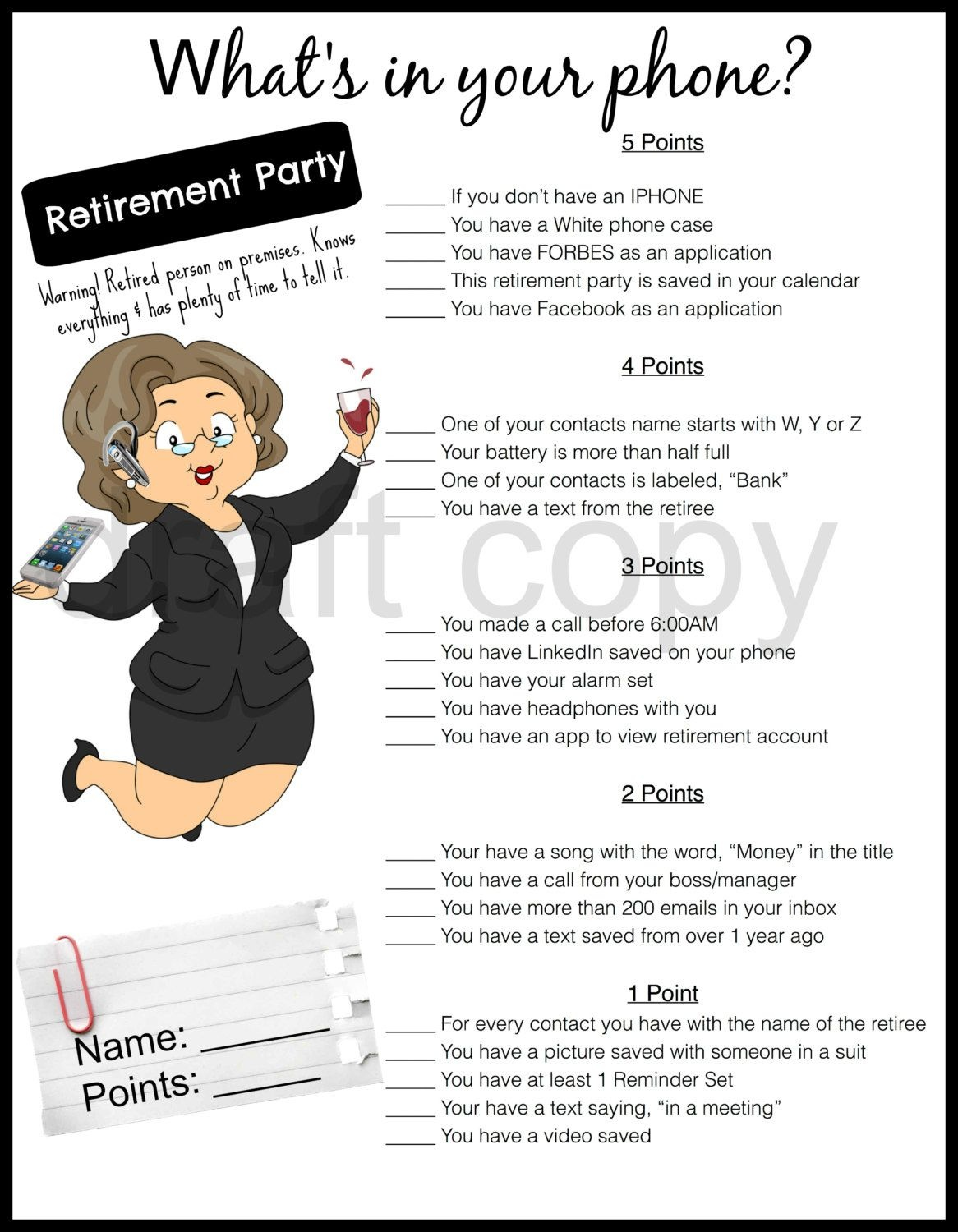 Retirement Party Game-Whats In Your Phone31Flavorsofdesign On - Retirement Party Games Free Printable