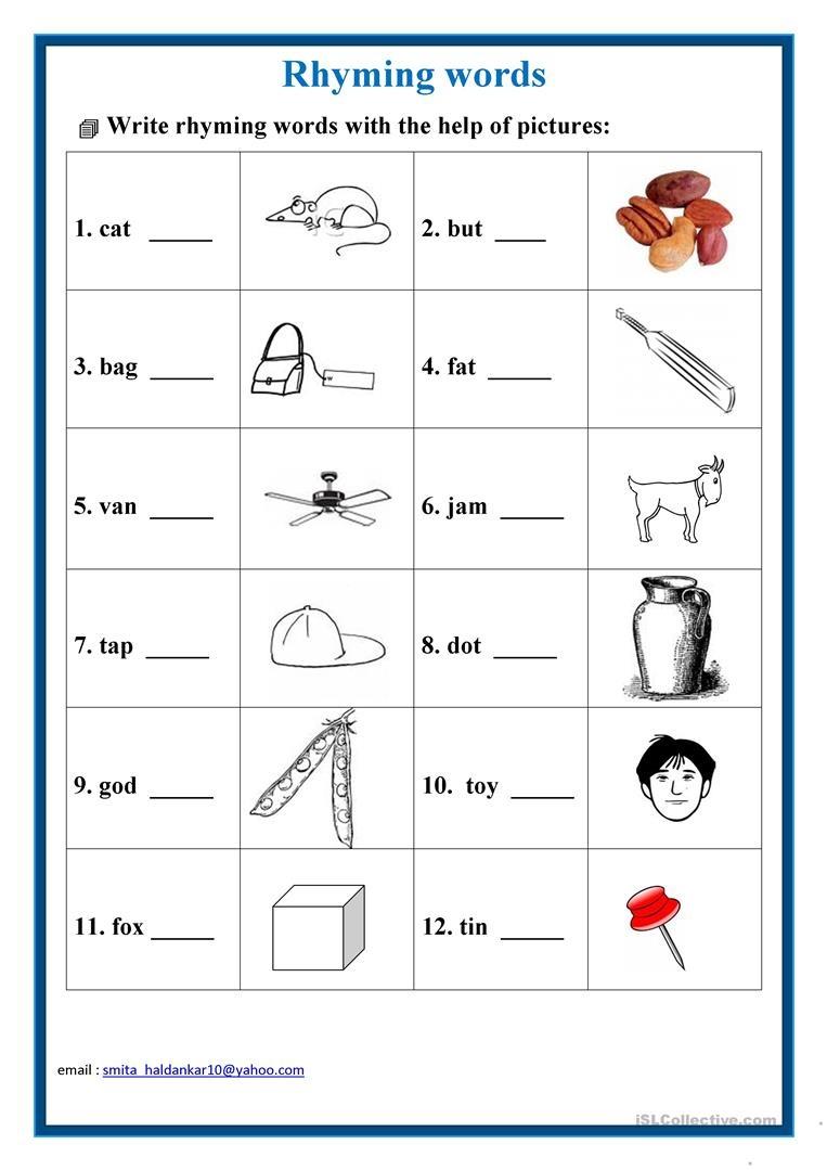 Rhyming Words Worksheet - Free Esl Printable Worksheets Madeteachers - Free Printable Rhyming Words