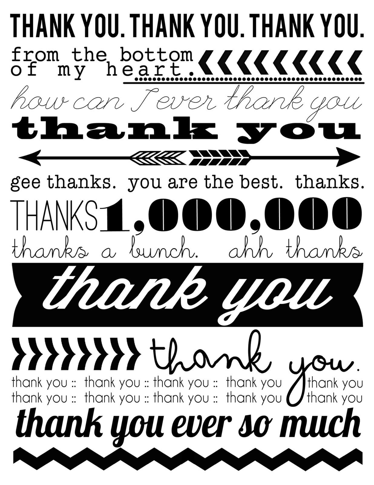 Ruffled Sunshine: Thank You Cards {Free Printable} - Free Printable Thank You Cards Black And White