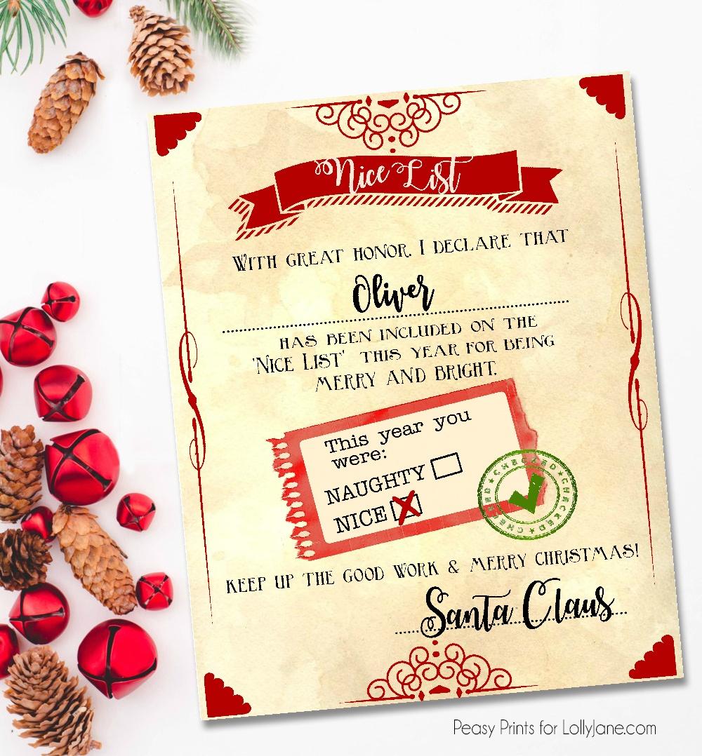 "Santa ""nice List"" Free Printable Certificate - Free Printable Best Daughter Certificate"