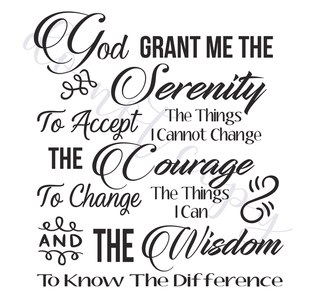 Serenity Prayer Digital Vector Files, Instant Download For Print And - Free Printable Serenity Prayer