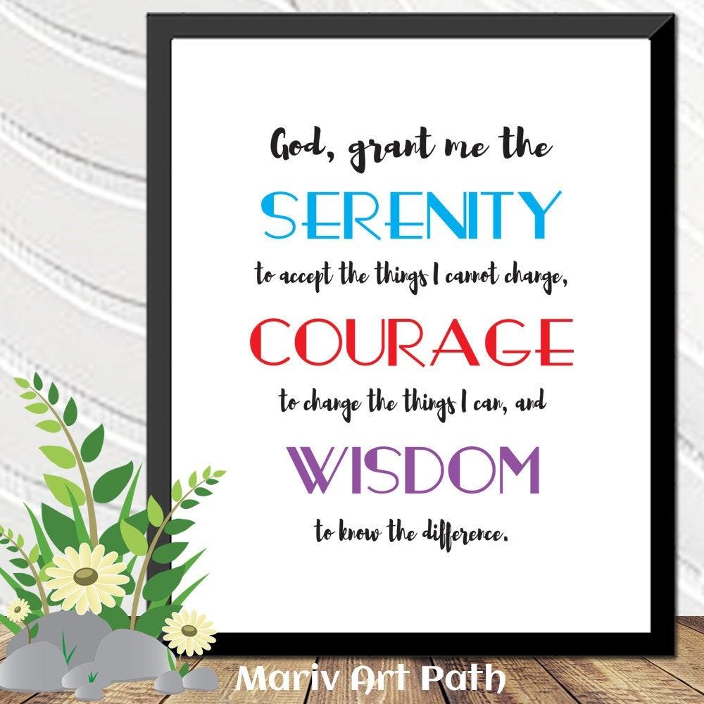 Serenity Prayer Printable Art Bible Verse Art Gift For Him   Etsy - Free Printable Serenity Prayer