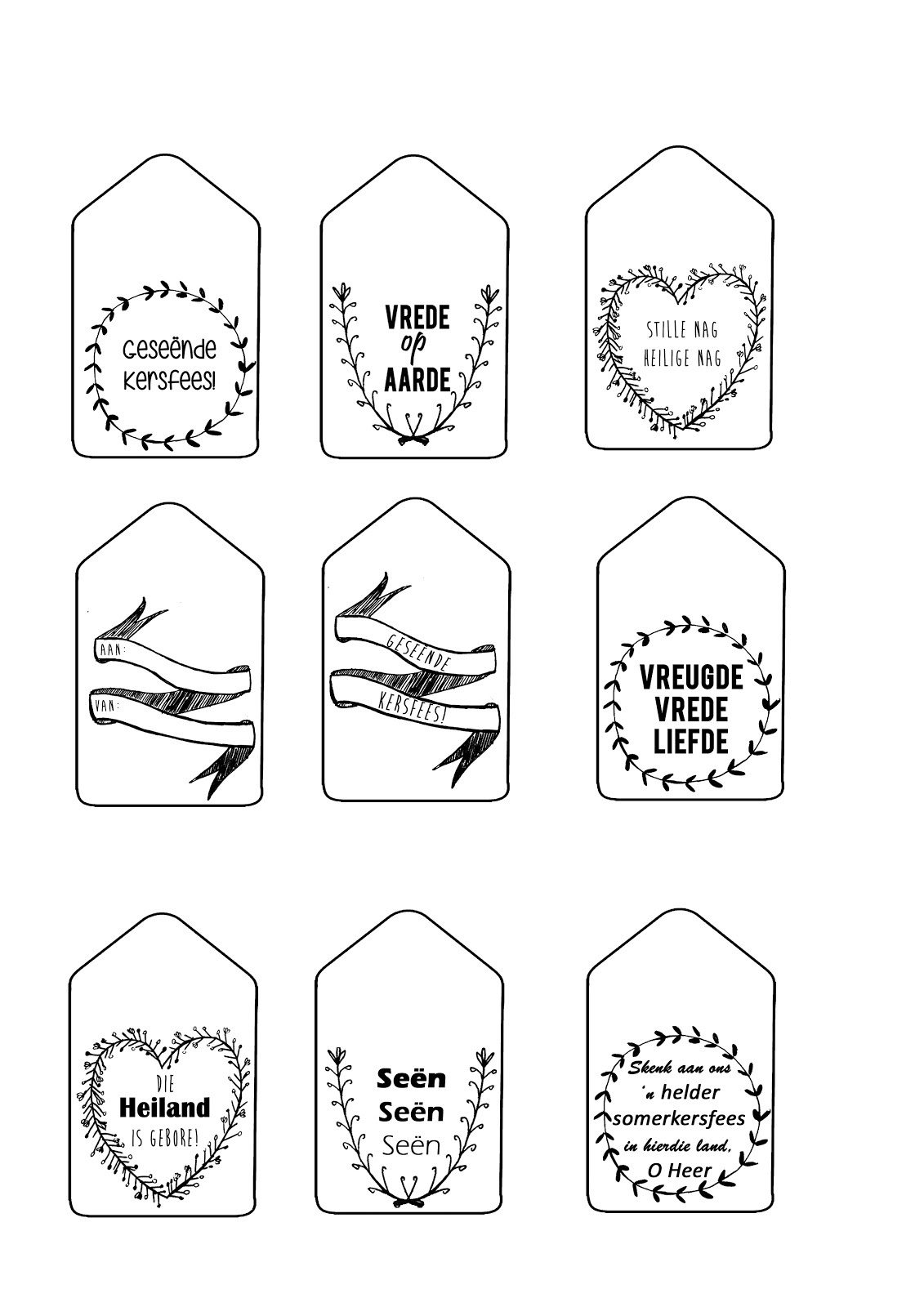 Sew & Such: Free Printable: Christmas Gift Tags (English & Afrikaans) - Christmas Gift Tags Free Printable Black And White