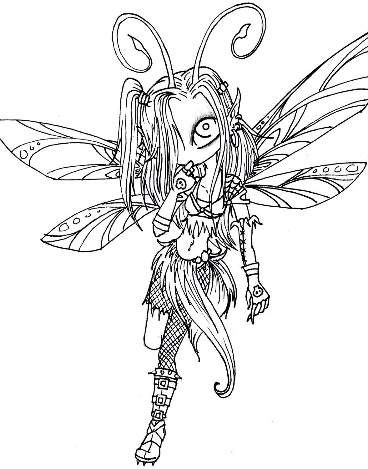 Sexy Adult Coloring Pages | Dark Fairy- Lines For Luna - Free Printable Coloring Pages For Adults Dark Fairies