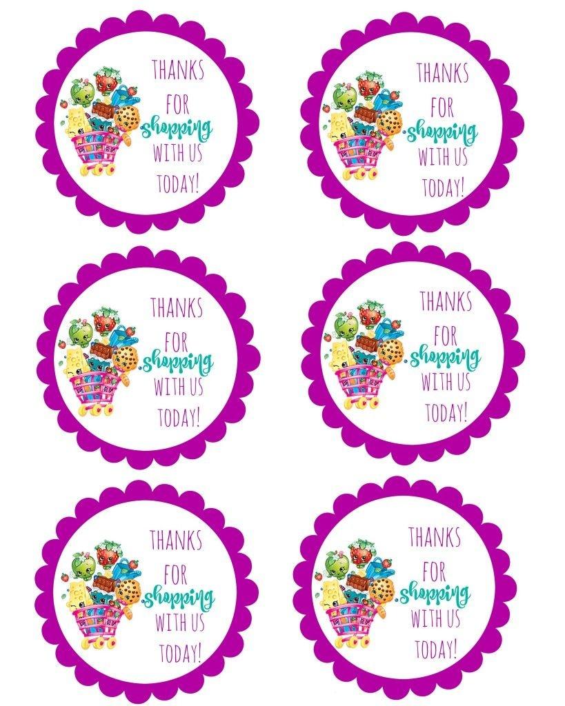 Shopkins Thank You Labels Via Mandy's Party Printables | Free - Free Printable Shopkins Thank You Cards
