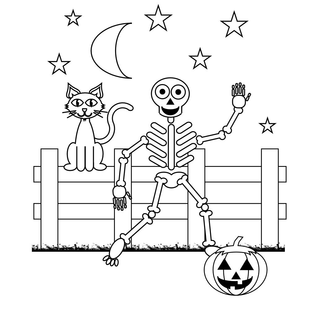 Skeleton Coloring Pages   Halloween   Halloween Coloring Pages - Free Printable Skeleton Coloring Pages