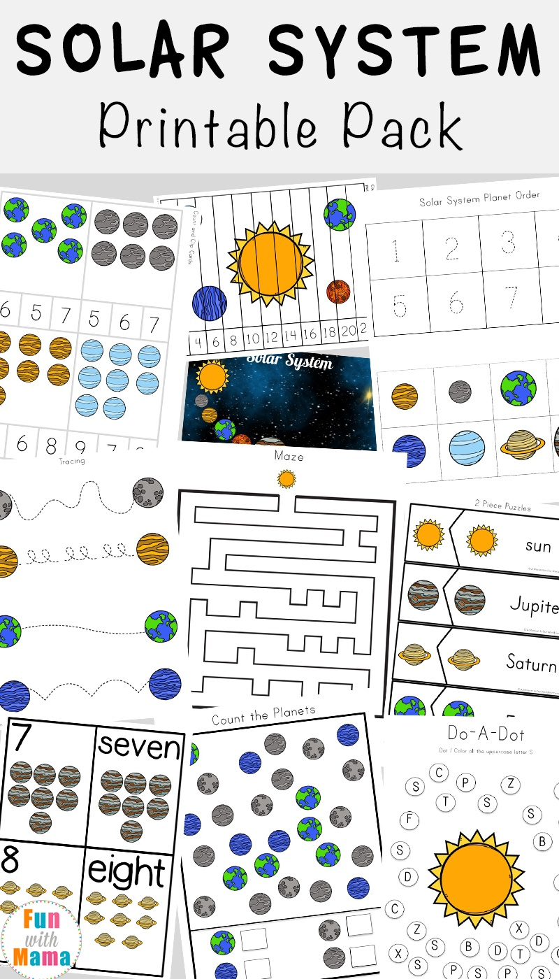 Solar System Printable Worksheets And Activities Pack - Fun With Mama - Solar System Charts Free Printable