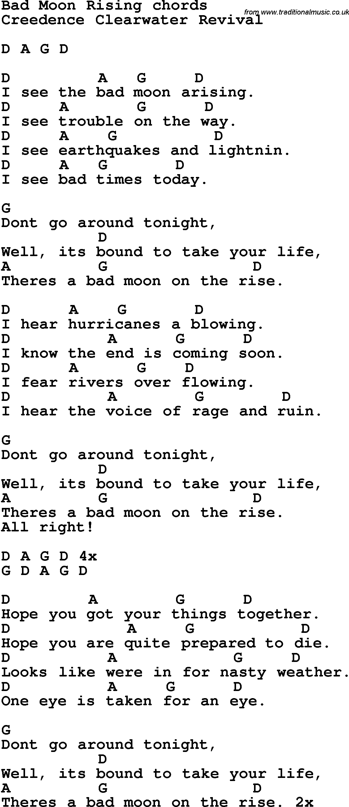 Song Lyrics With Guitar Chords For Bad Moon Rising | Guitar - Free Printable Song Lyrics With Guitar Chords