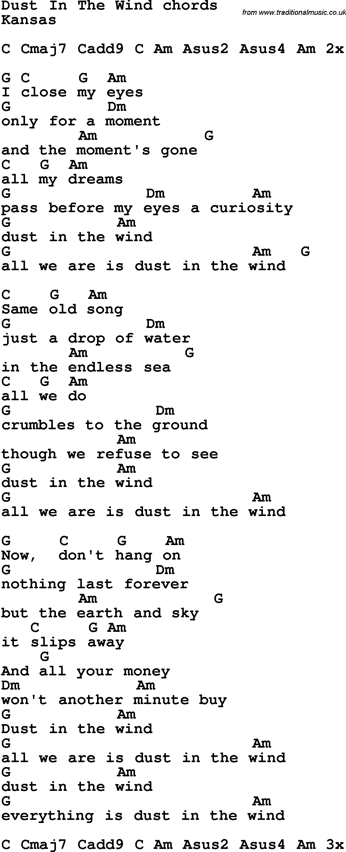 Song Lyrics With Guitar Chords For Dust In The Wind | Music In 2019 - Free Printable Song Lyrics With Guitar Chords