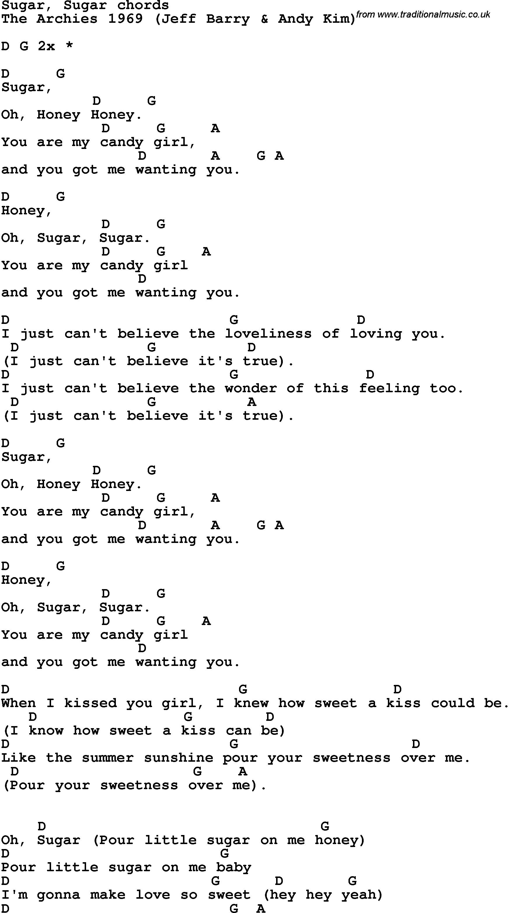 Song Lyrics With Guitar Chords For Sugar, Sugar | Guitar Class In - Free Printable Song Lyrics With Guitar Chords