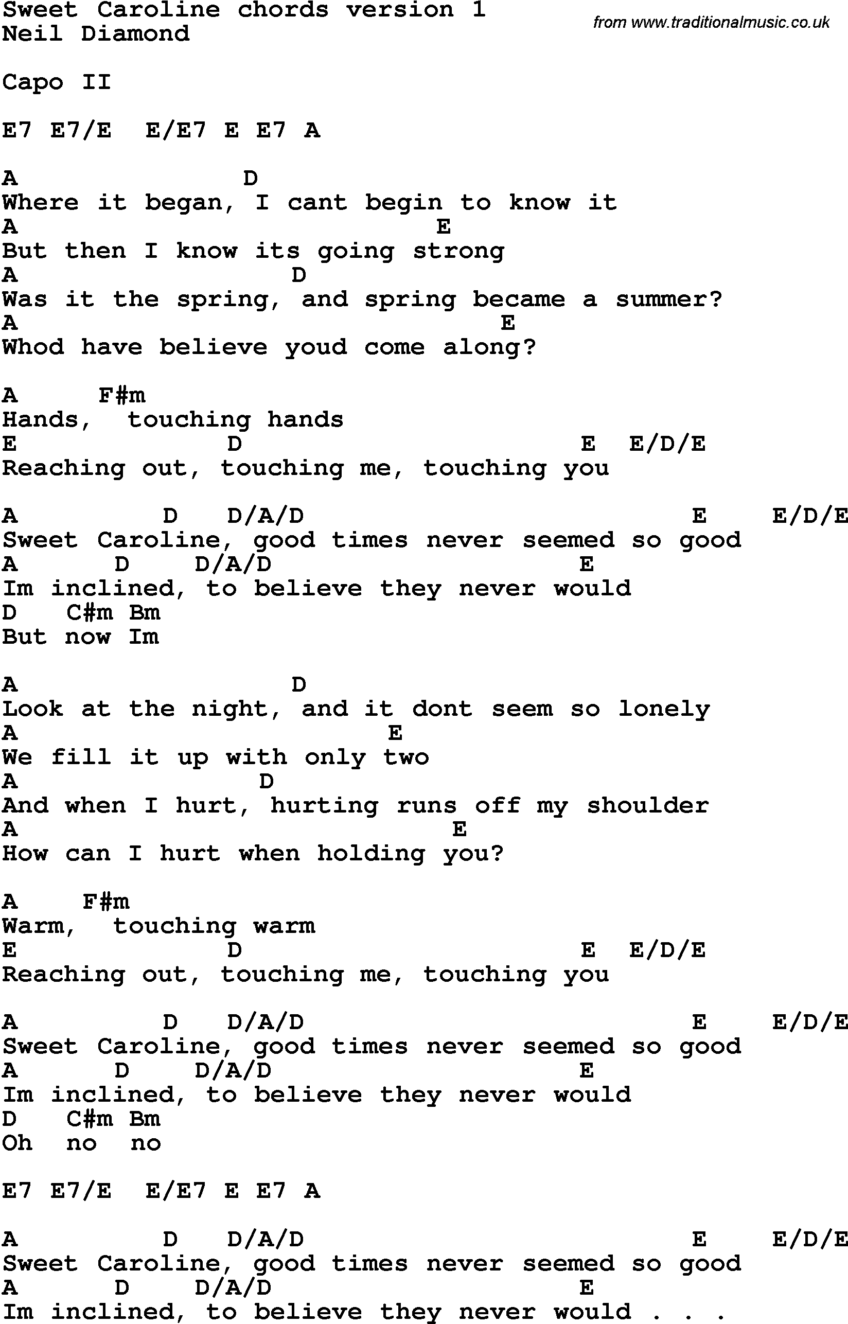 Song Lyrics With Guitar Chords For Sweet Caroline | Don Maclean In - Free Printable Song Lyrics With Guitar Chords