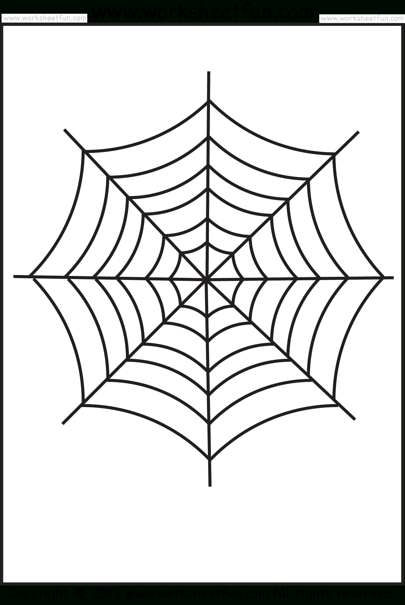 Spider Web Tracing And Coloring – 2 Halloween Worksheets / Free - Spider Web Stencil Free Printable