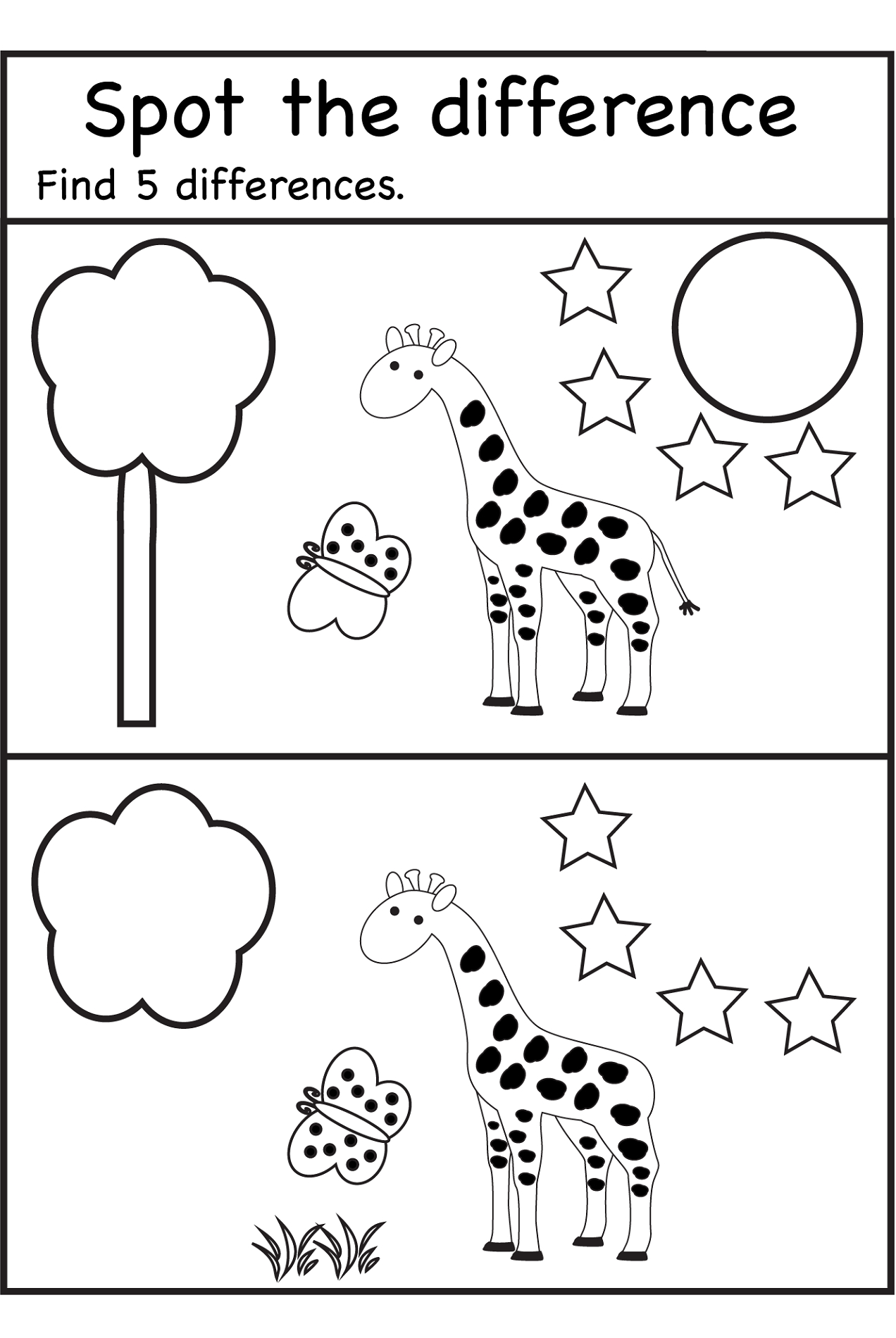Spot The Difference Worksheets   Spot The Difference Printable - Free Printable Spot The Difference Worksheets