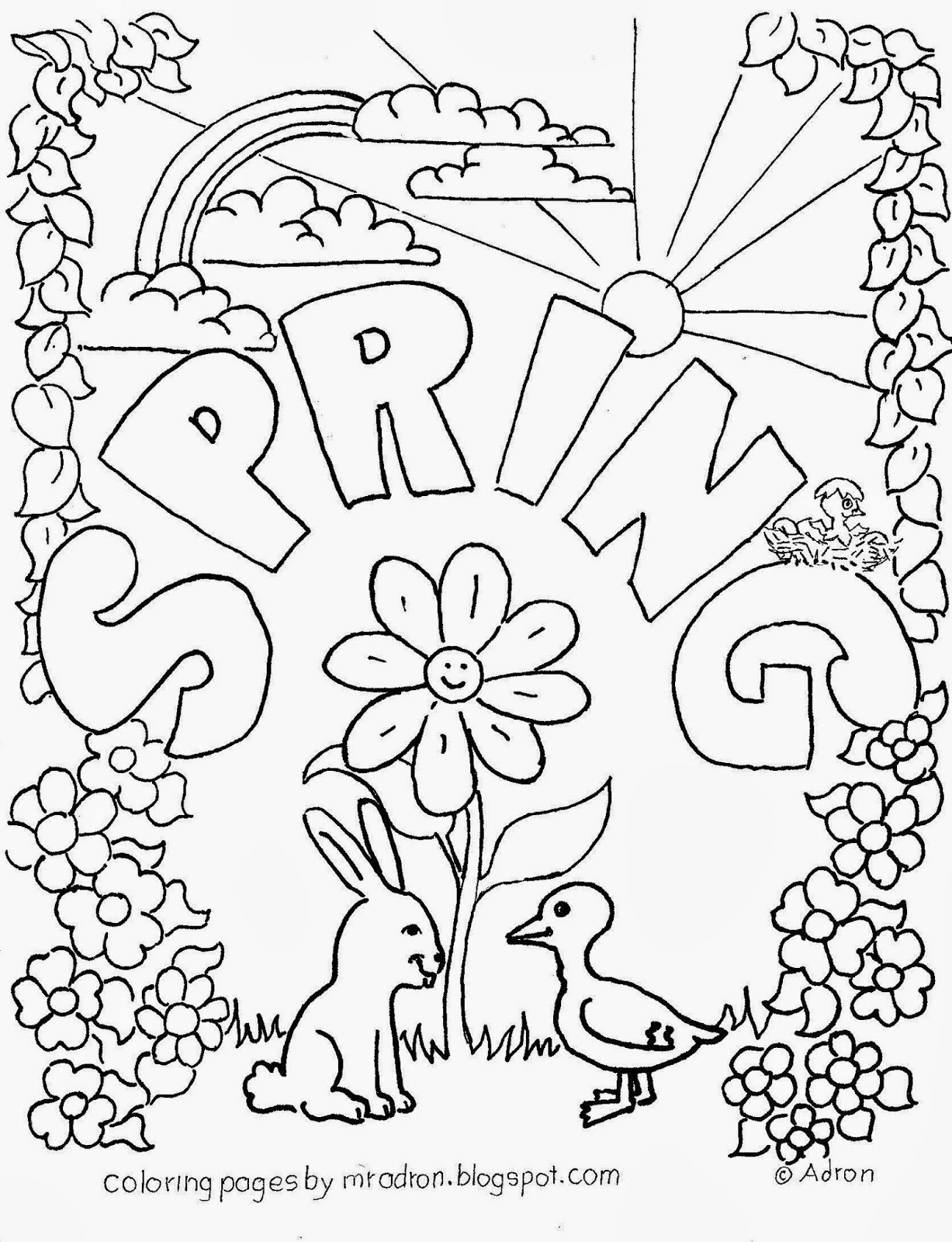 Spring Coloring Pages To Print Agreeable Springtime Coloring Pages - Free Printable Spring Coloring Pages For Adults