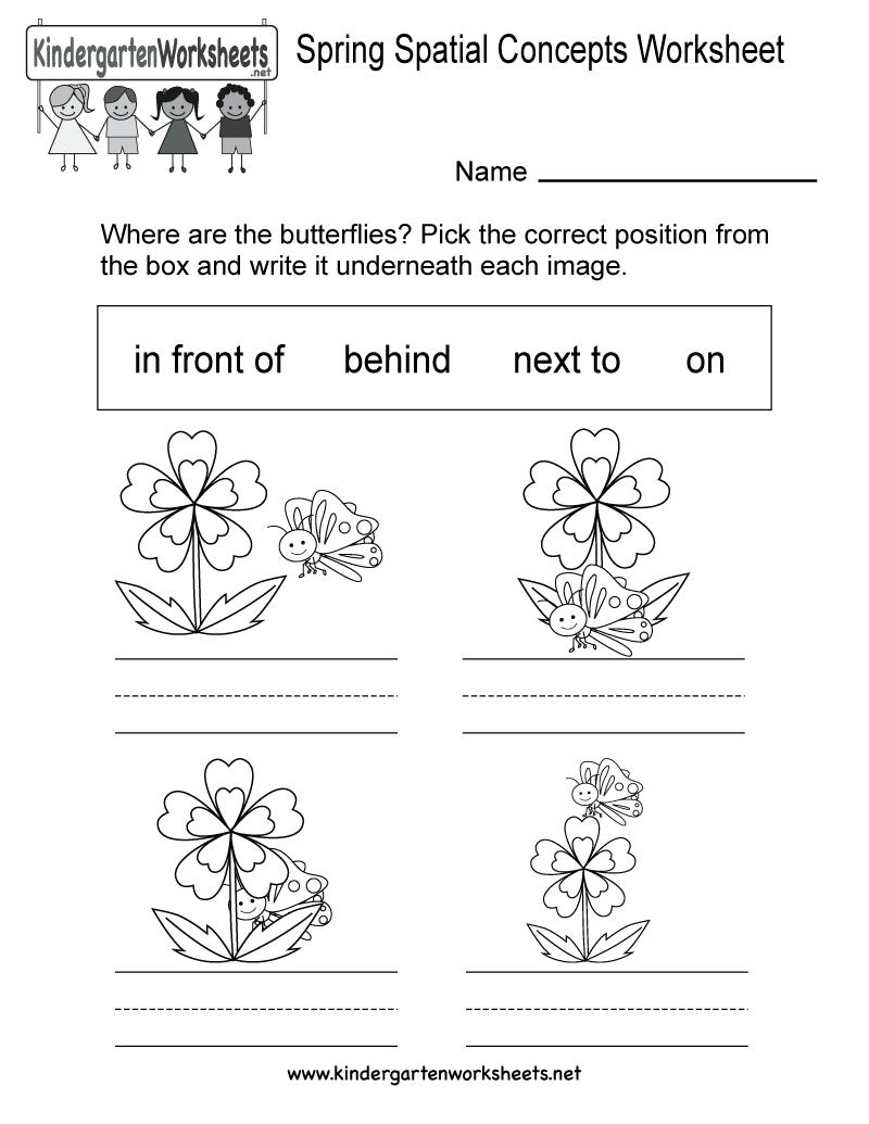 Spring Spatial Concepts Worksheet - Free Kindergarten Seasonal - Free Printable Spring Worksheets For Kindergarten