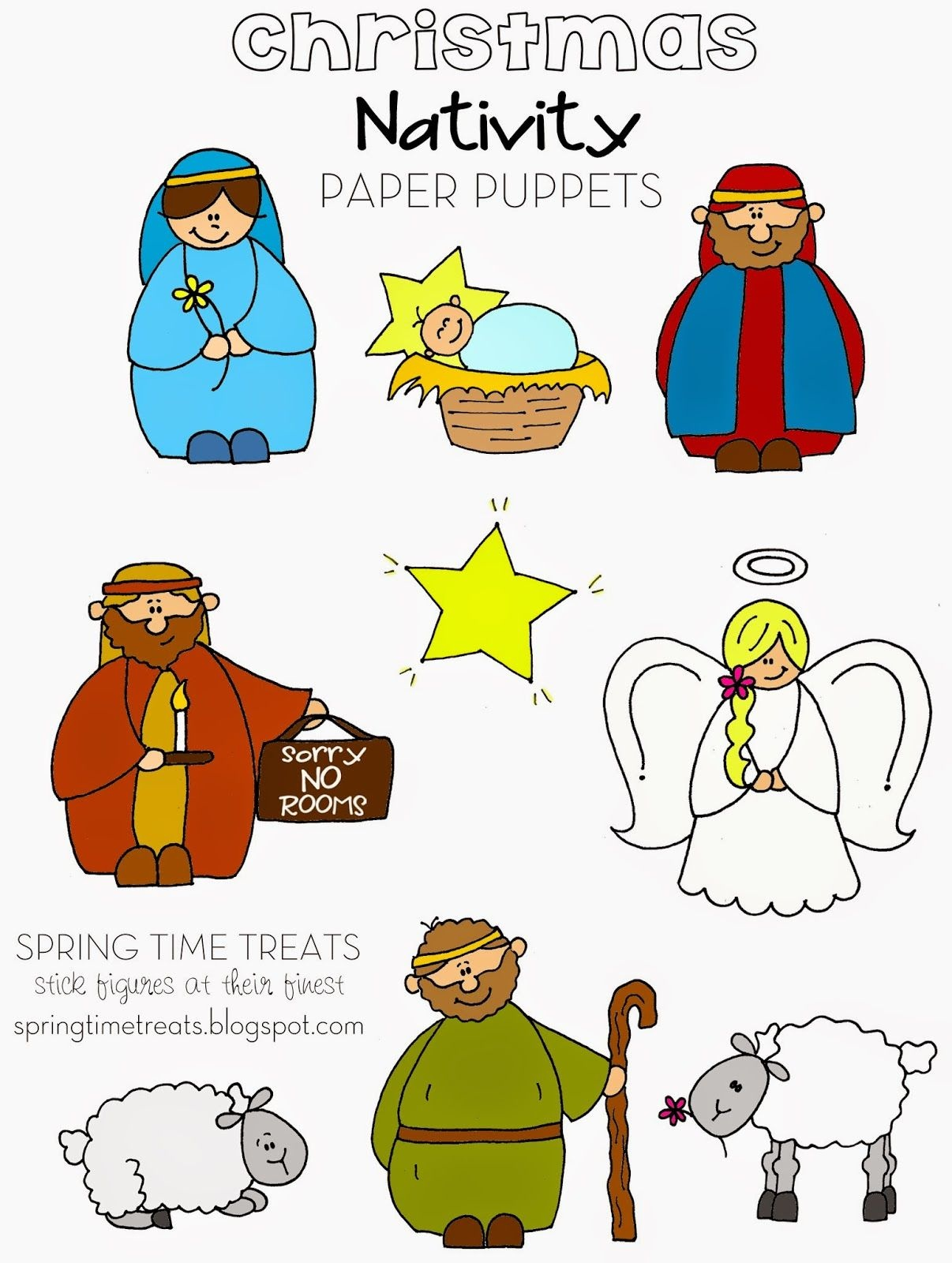 Spring Time Treats: Nativity Paper Puppets - Free Printables | Mdo - Free Printable Nativity Story
