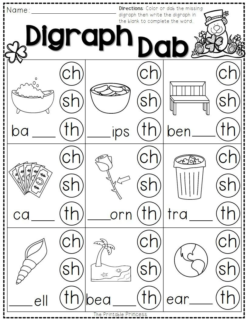 St. Patrick's Day Math And Literacy No Prep Freebie   Reading - Free Printable Ch Digraph Worksheets