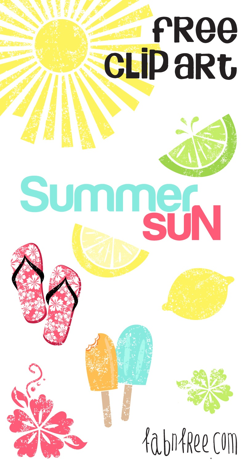 Summer // Free Clip Art Set And Journaling Cards   Fab N' Free - Free Printable Summer Clip Art