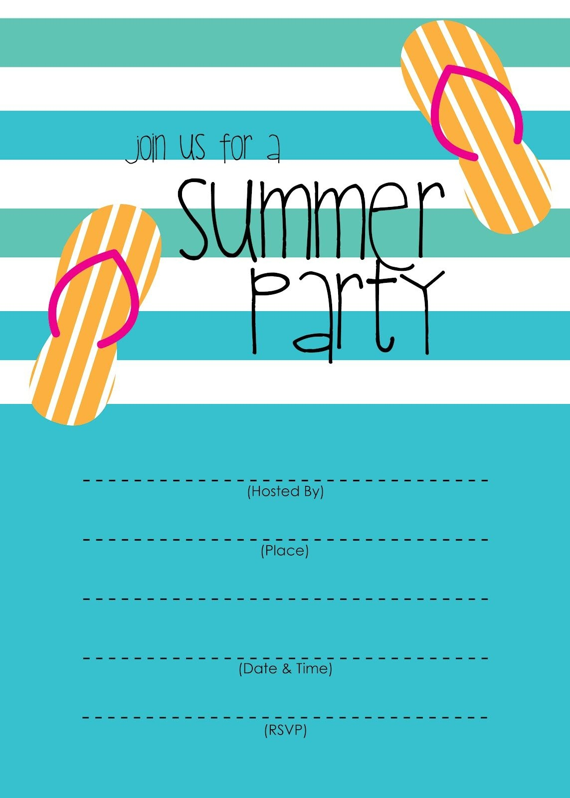 Summer Party Invitation – Free Printable | End Of Year Party Ideas - Free Printable Event Invitations