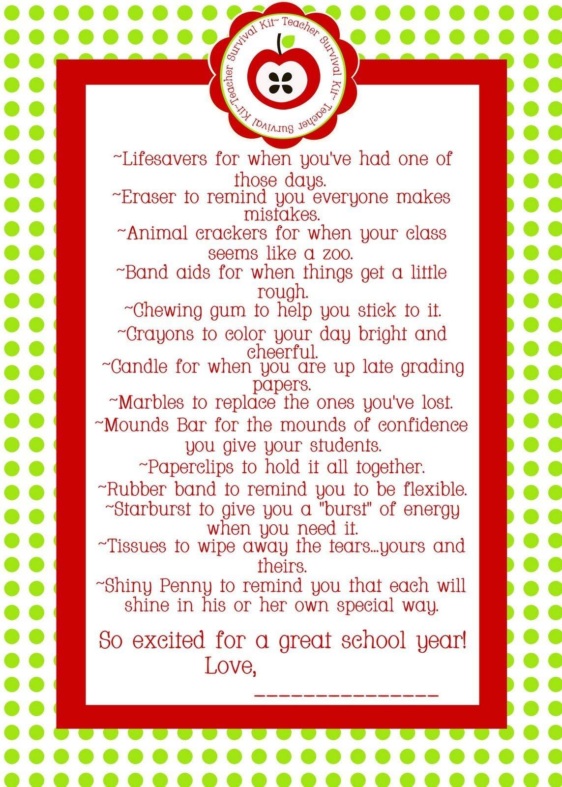 Teacher Survival Kit - For The Other Teachers In My Life Sissy - Teacher Survival Kit Free Printable