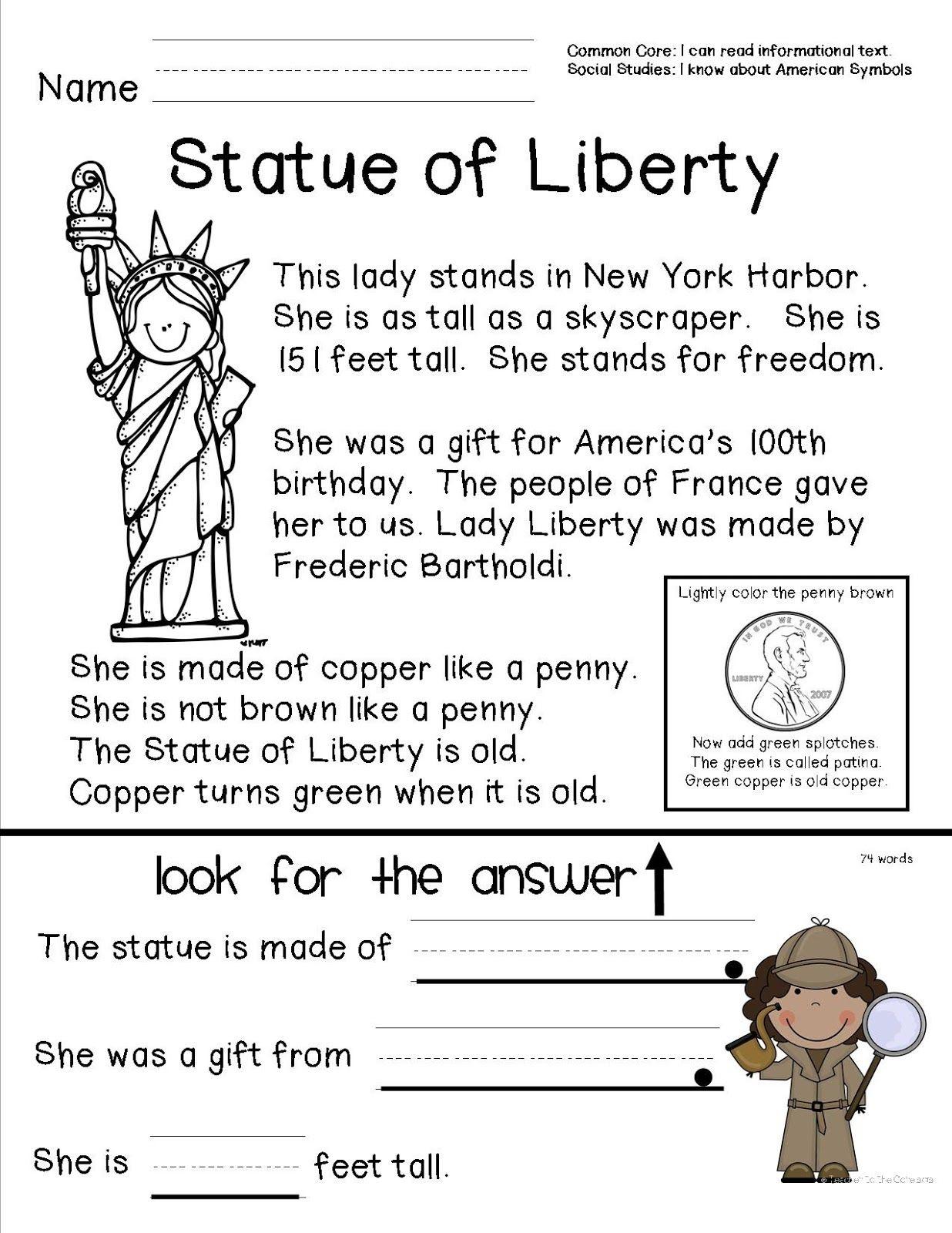 Teacher To The Core: American Symbols   Top Teachers Smorgasboard - Social Studies Worksheets First Grade Free Printable