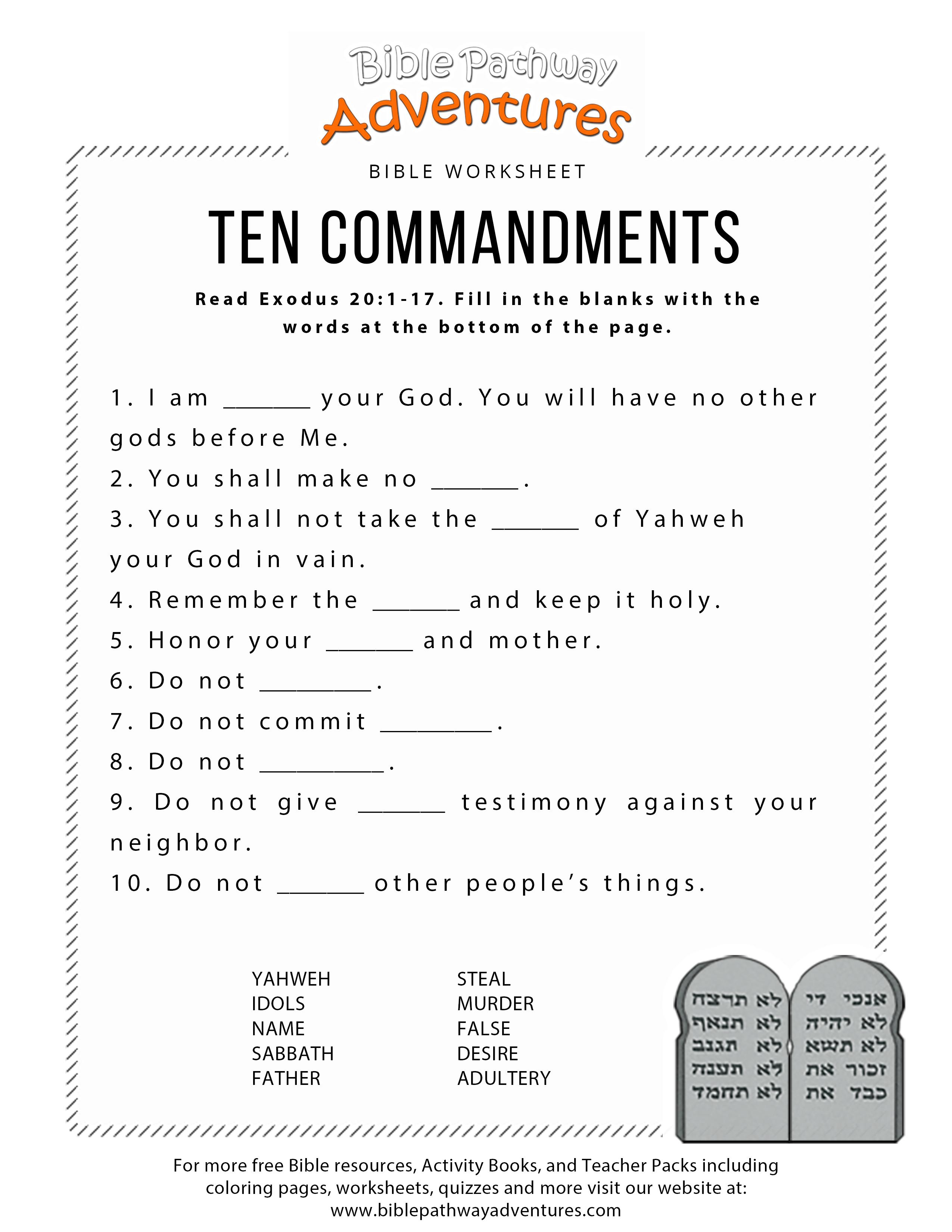 Ten Commandments Worksheet For Kids | Worksheets For Psr | Bible - Free Printable Bible Games For Kids