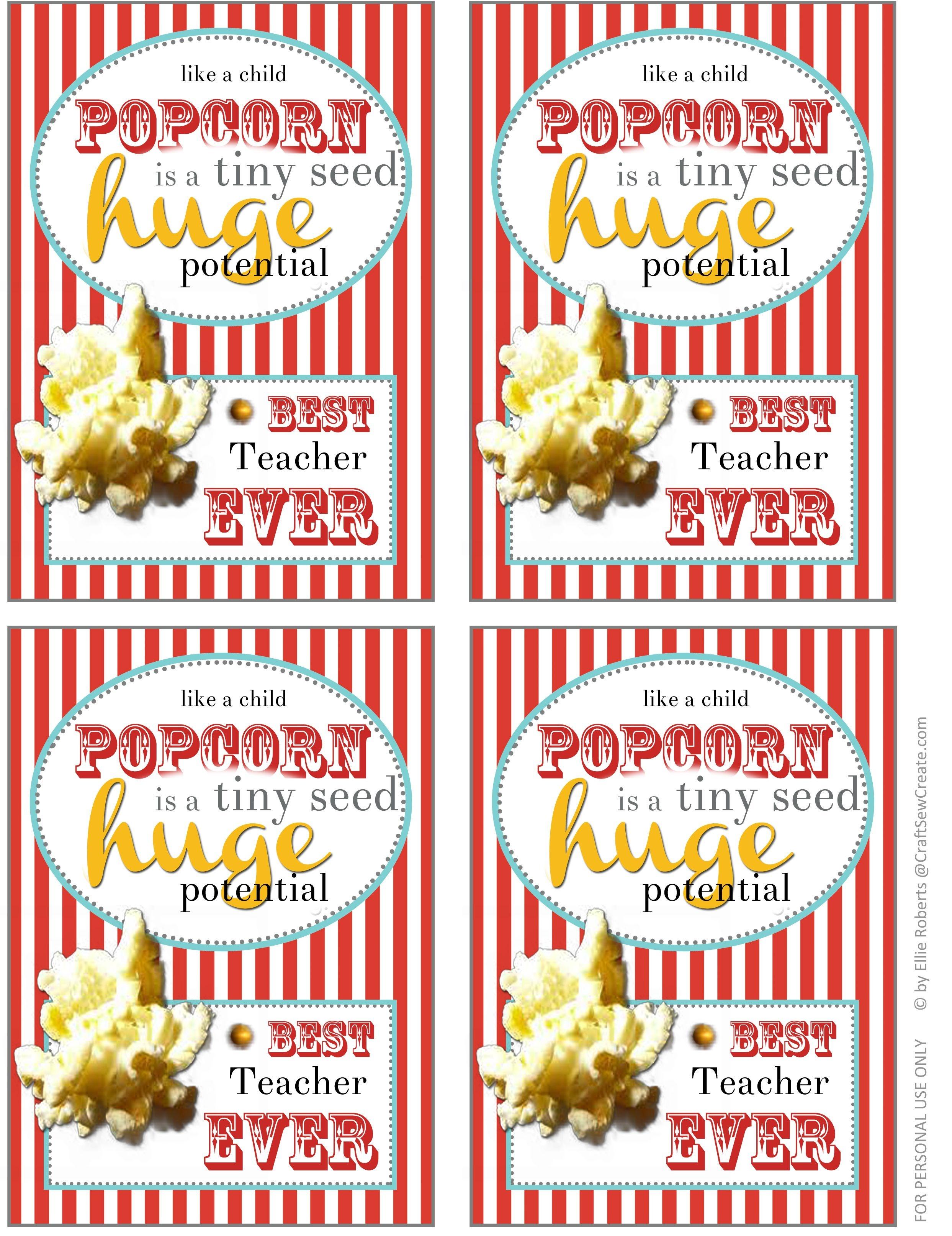 Thank You For Popcorn Printable For Primary Teachers | Primary - Free Popcorn Teacher Appreciation Printable