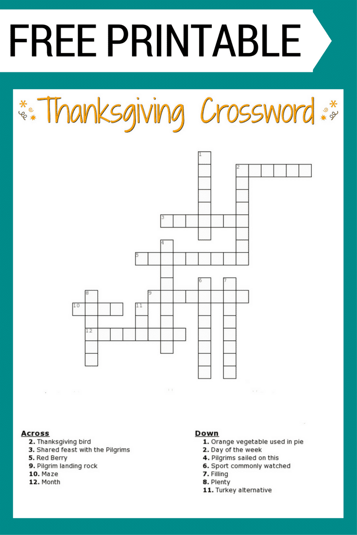Thanksgiving Crossword Puzzle Free Printable - Free Printable Crossword Puzzles