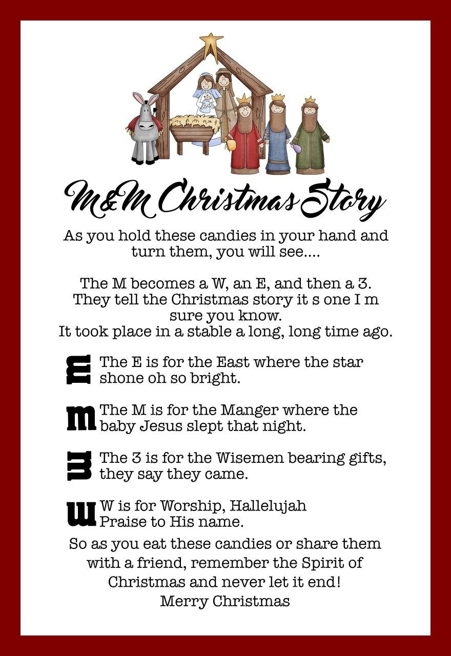 The M&m Christmas Story - Over 8 Free Printables | Christmas Ideas - Free Printable Nativity Story
