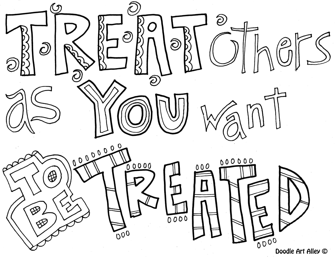 Treat Others As You Want To Be Treated   Coloring Pages For Older - Free Printable Coloring Pages On Respect