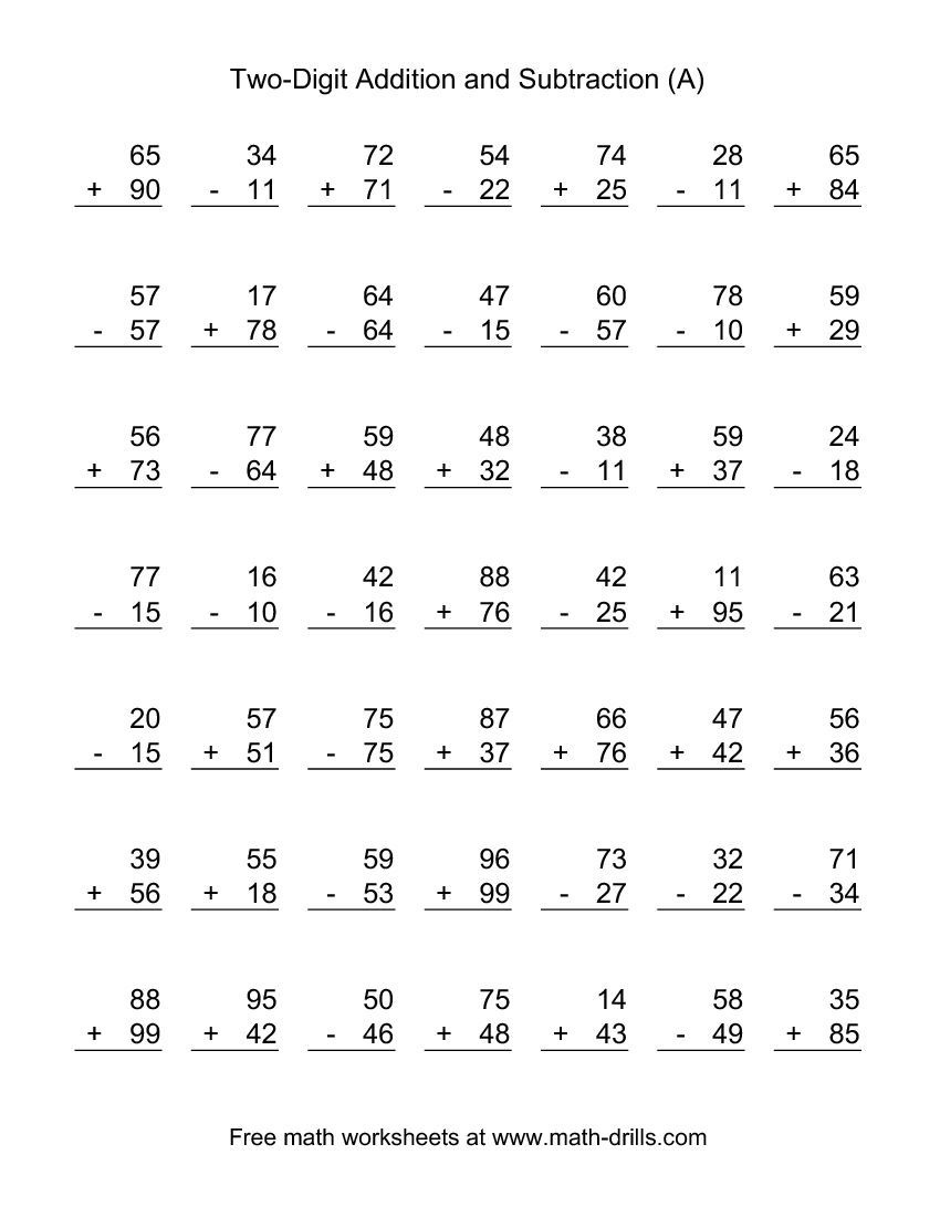 Two-Digit (A) Combined Addition And Subtraction Worksheet   Addition - Free Printable Math Worksheets Addition And Subtraction