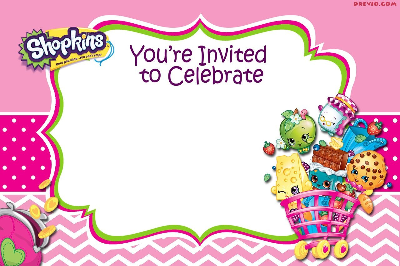 Updated - Free Printable Shopkins Birthday Invitation | Free - Free Printable Shopkins Birthday Invitations