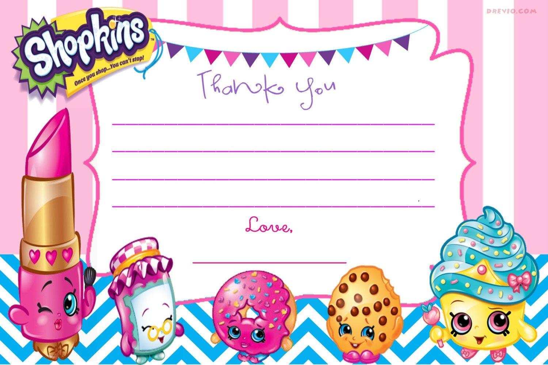 Updated - Free Printable Shopkins Birthday Invitation | Free - Free Printable Shopkins Thank You Cards