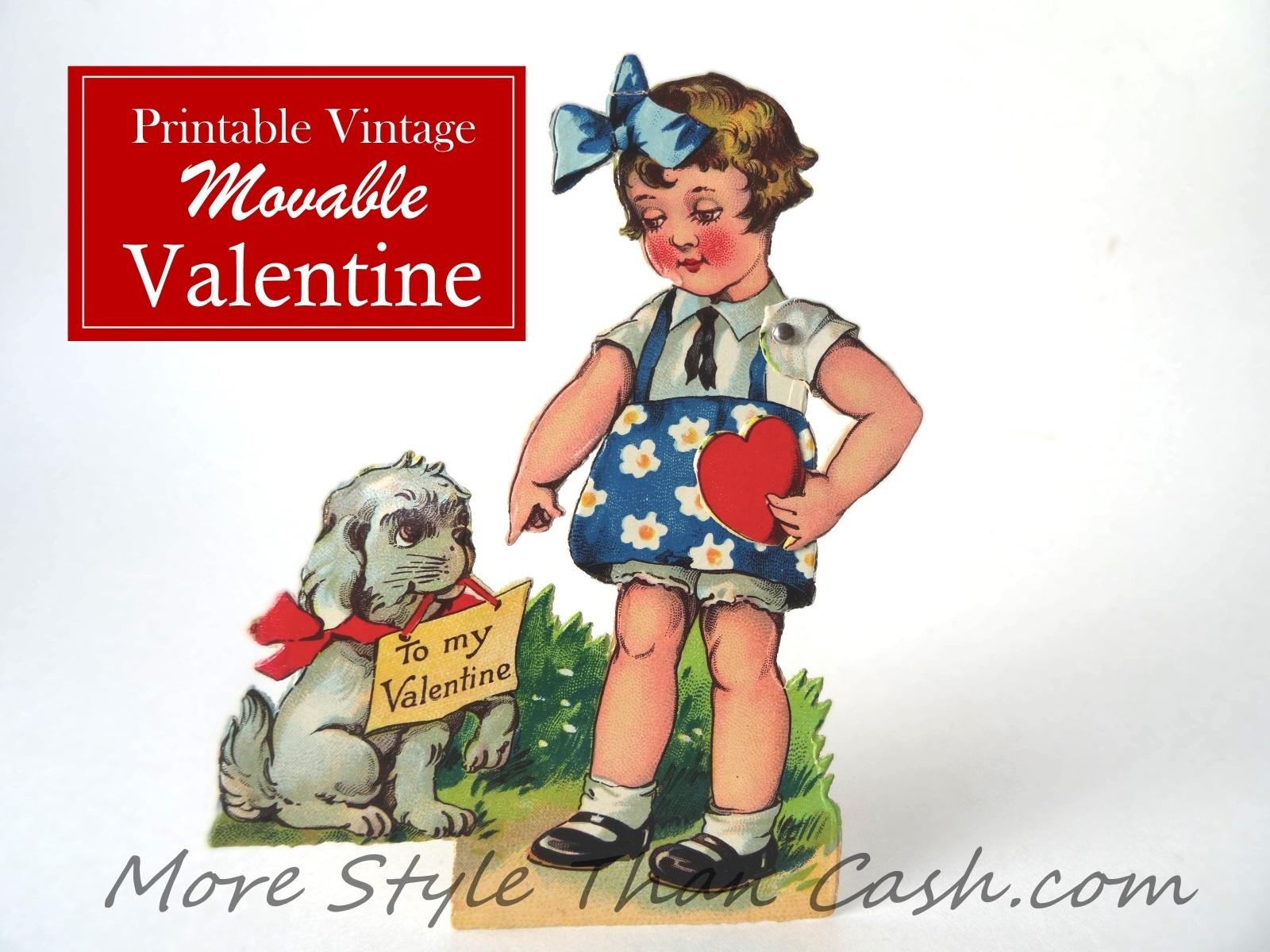 Vintage Movable Valentine Printable - Free Printable Vintage Valentine Pictures