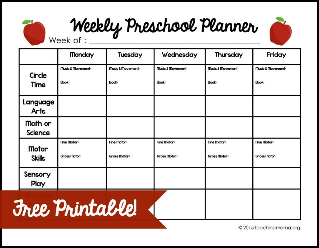Weekly Lesson Plan Template For Preschool Lessons, Worksheets And - Free Printable Lesson Plan Template