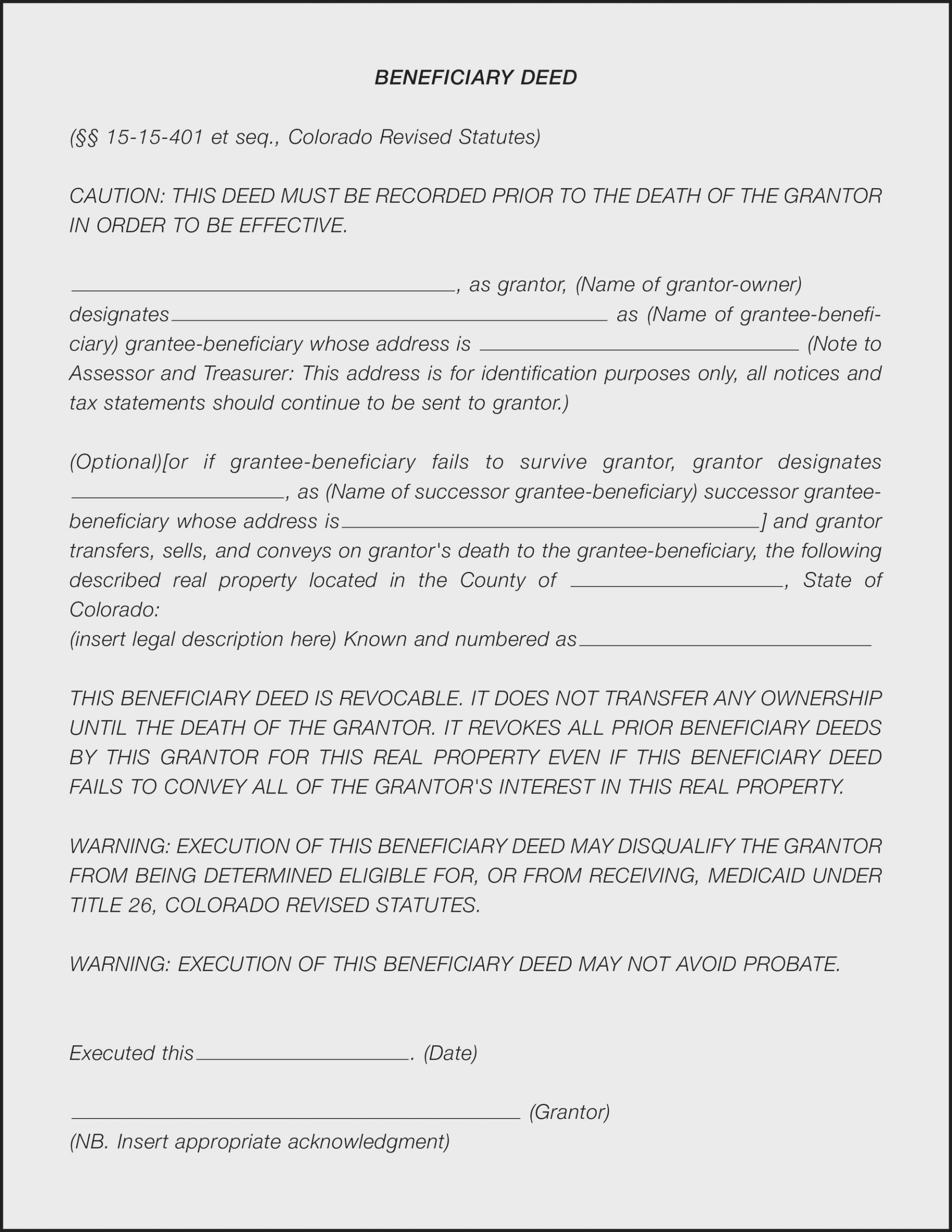 What Is A Beneficiary Deed? – Land Title Guarantee Company | Land - Free Printable Beneficiary Deed