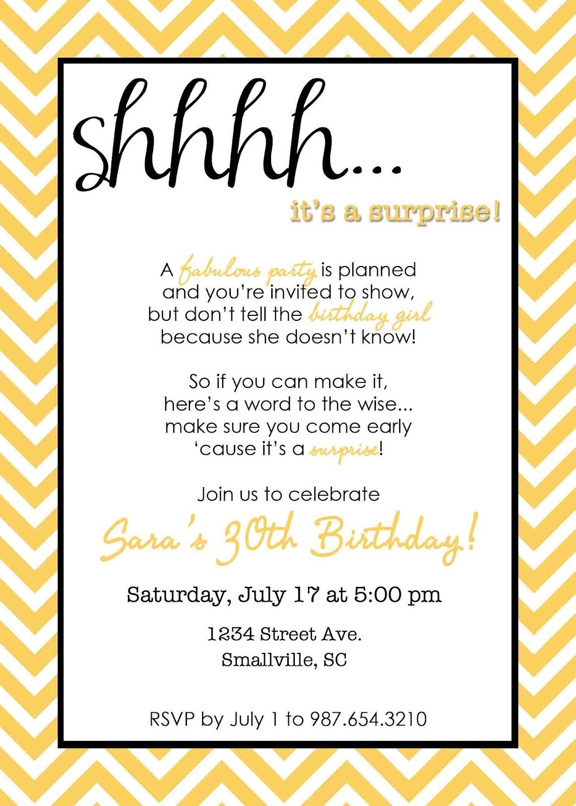 Wording For Surprise Birthday Party   Free Printable Birthday - Free Printable Surprise Party Invitations