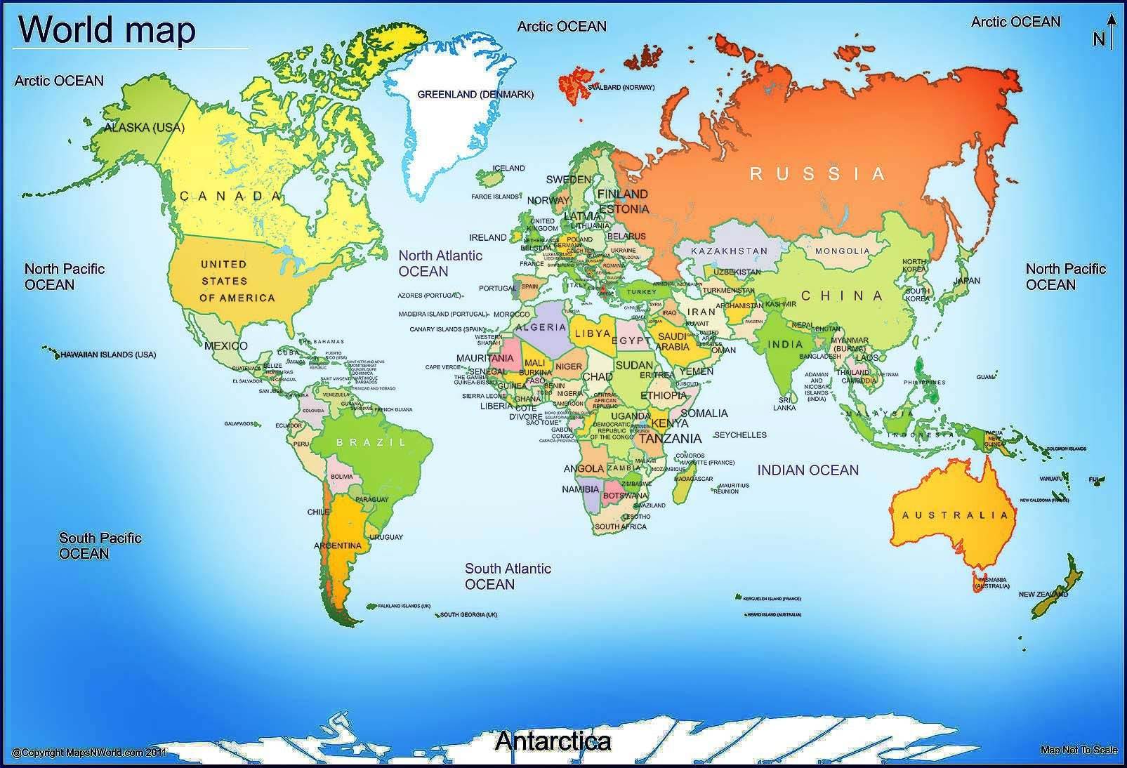 World Map - Free Large Images   Maps   World Map With Countries - Free Printable World Map Images