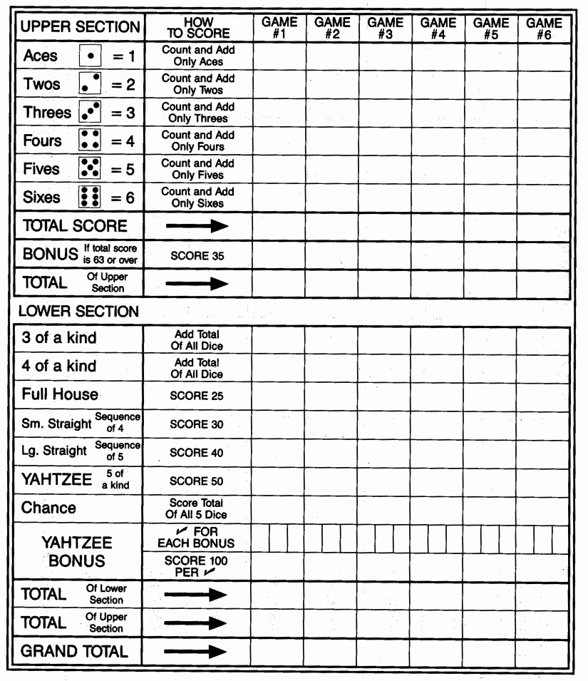 image about Yahtzee Score Cards Printable known as Yahtzee Rating Card - No cost Printable Yahtzee Rating Sheets
